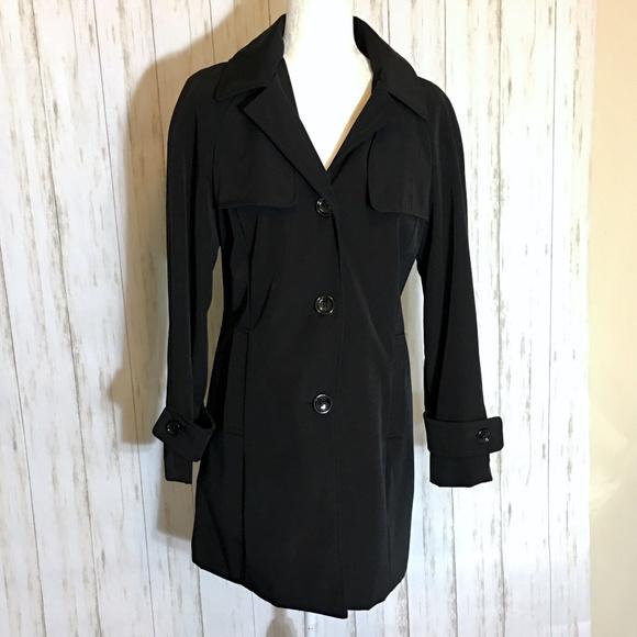 Calvin Klein Jackets & Blazers - Calvin Klein Black Trench Coat Removable Hood